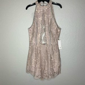 Tobi Lace Taupe Jump Suit Shorts Outfit Size M New